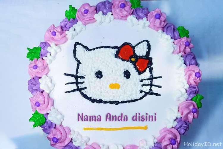 Tulis Nama Di Kue Ulang Tahun Selamat Hello Kitty Untuk Anak-Anak