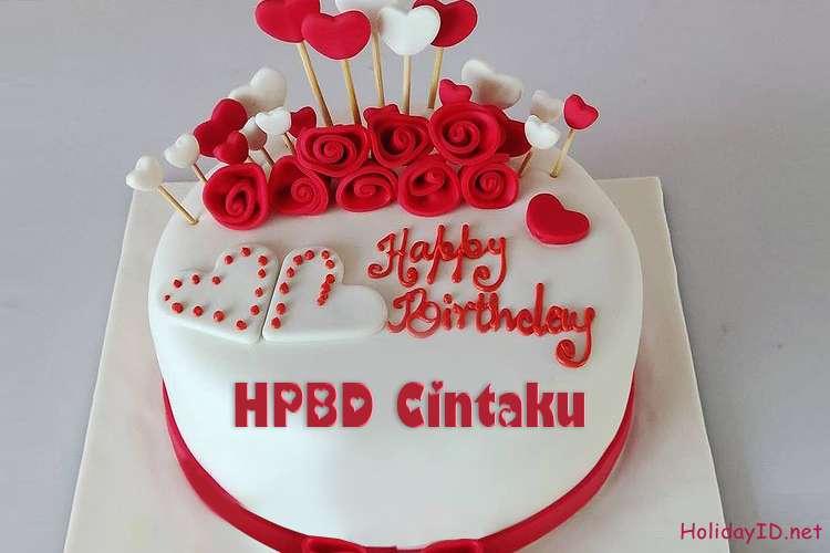 Kue Ulang Tahun Happy Rose Dengan Nama Untuk Kekasih