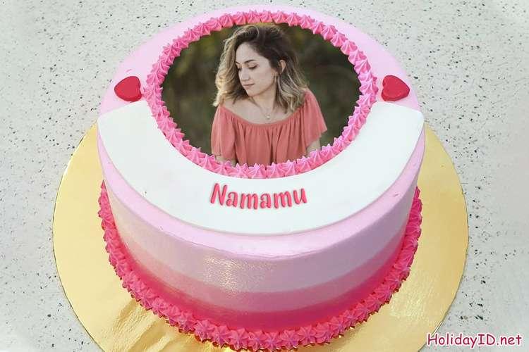Kue Ulang Tahun Merah Muda Yang Indah Dengan Nama Dan Foto